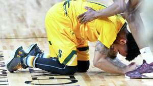 Siena's Marquis Wright breaks down after sinking a three pointer at the buzzer with his team coming up short one point as they lose the MAAC men's championship game against Iona at the Times Union Center on Monday, Feb. 6, 2017 in Albany, N.Y.  (Lori Van Buren / Times Union)