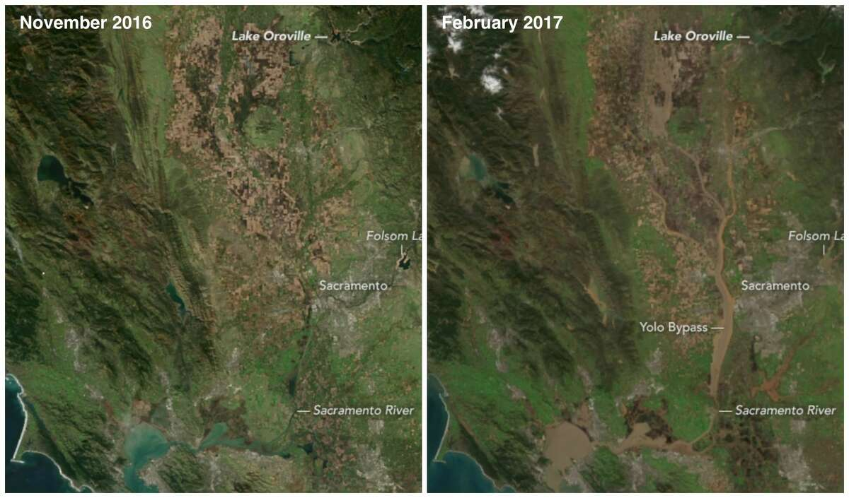Sacramento Valley: Before and after the 2017 storms November 2016: The state was at the tail end of a multi-year drought before the rainy season evolved into one of the wettest in history. February 2017: A series of winter storms pushed reservoirs in the Sacramento Valley to the brim in January and February 2017. As of February 11, 2017, Lake Oroville stood at 151 percent of the historical average. Folsom Lake was at 144 percent, Lake Shasta was at 138 percent, Don Pedro Reservoir was at 141 percent, and Lake McClure was at 182 percent.
