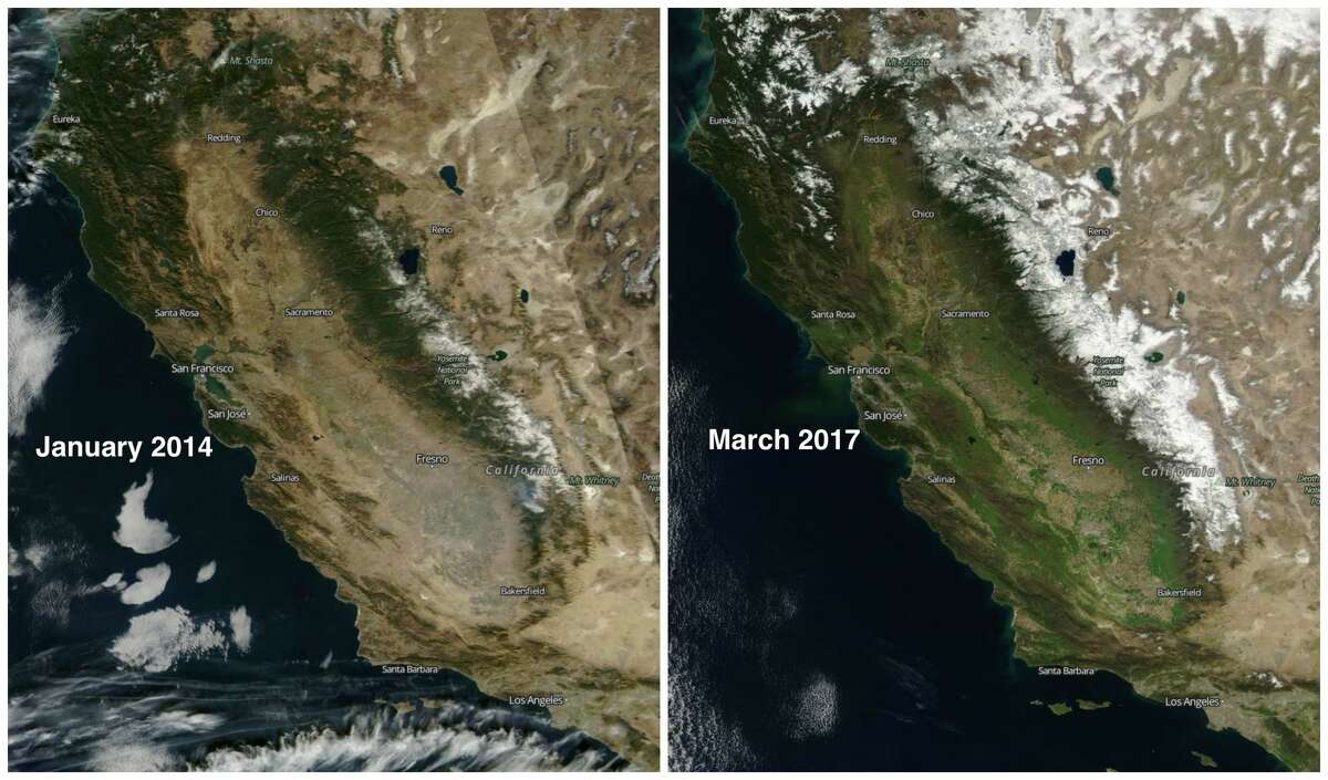Northern California:Before and after 2017 storms January 18, 2014:January 2014 was one of the driest Januarys on record in recorded history.Even in winter, much of the vegetation in drought-stricken California appeared brown. Roughly two weeks after this photo was taken, the Sierra snowpack was measured on Feb. 1 at 9 percent of average, the lowest ever for that time of year. March 1, 2017:After a series of storms slam Northern California throughout January and February, the vegetation greens and the snowpack is at 185 percent of normal.