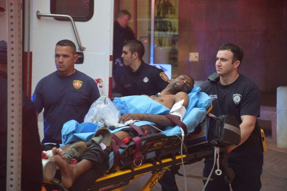 A man suffered life threatening injuries after he was stabbed Tuesday, March, 7, 2017, at the Central Library in the 600 block of Soledad Street. Photo: Caleb Downs / San Antonio Express-News