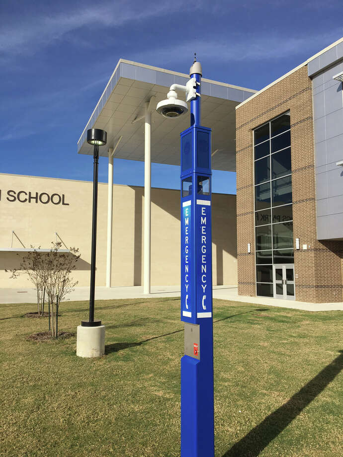 Cy-Fair ISD is in the process of installing emergency call stations like this one at Cypress Park High School. Photo: Cy-Fair ISD