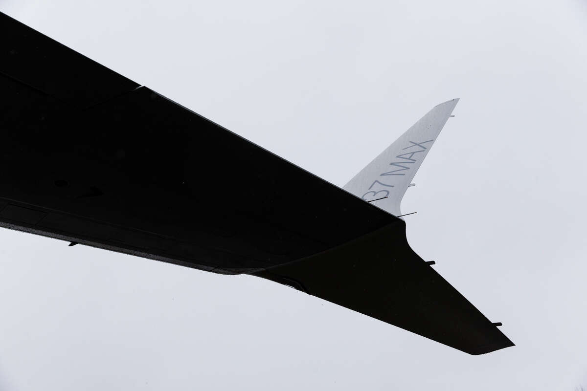 The starboard wing on Boeing's newest commercial airplane, the 737 MAX 9, at the manufacturer's Renton factory on Tuesday, March 7, 2017.