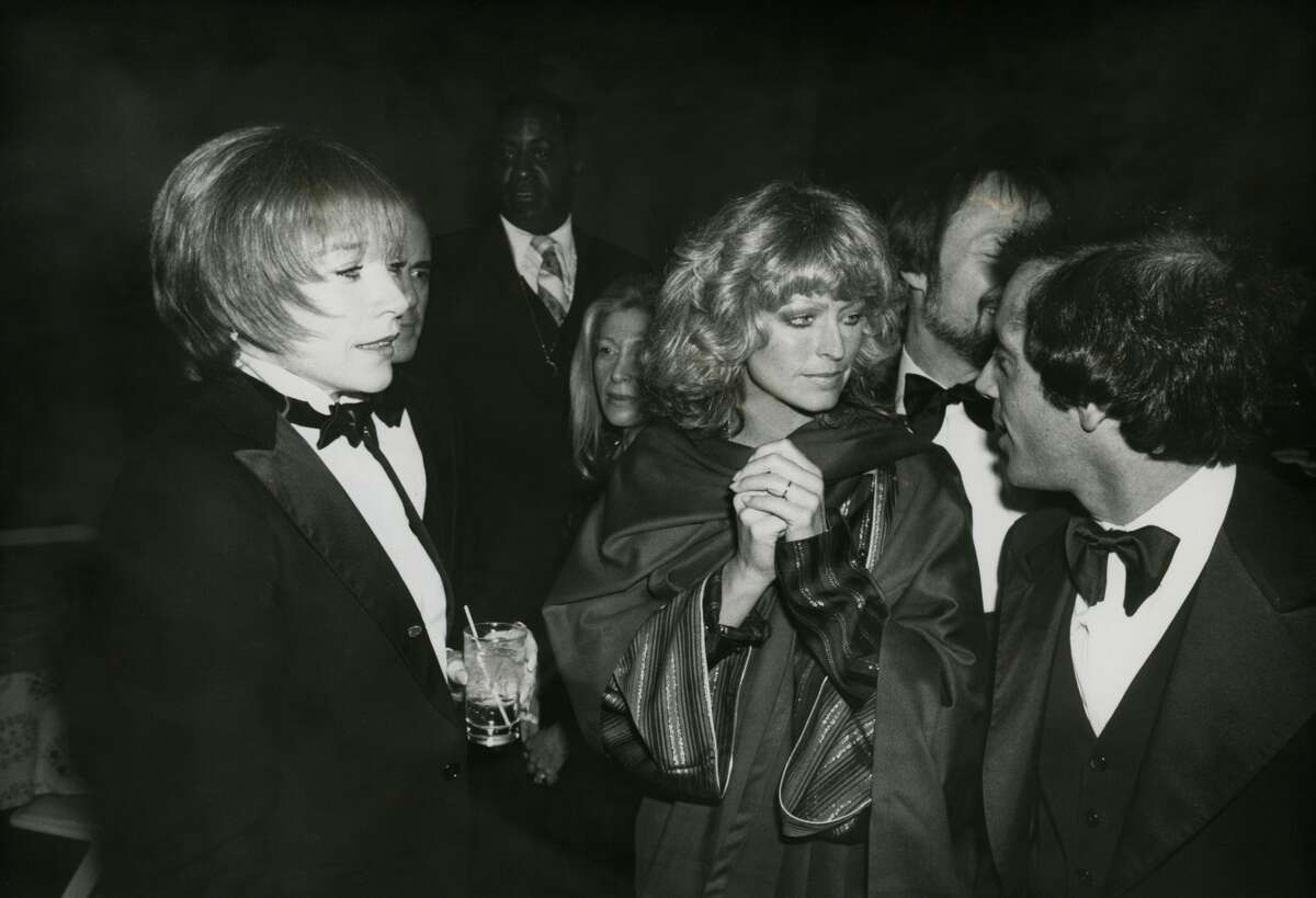 Shirley MacLaine, Farrah Fawcett and Steve Rubell at Studio 54 circa 1977 in New York City.