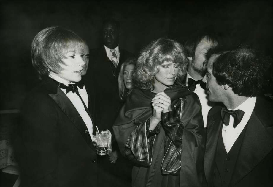 Shirley MacLaine, Farrah Fawcett and Steve Rubell at Studio 54 circa 1977 in New York City. Photo: Images Press/Getty Images