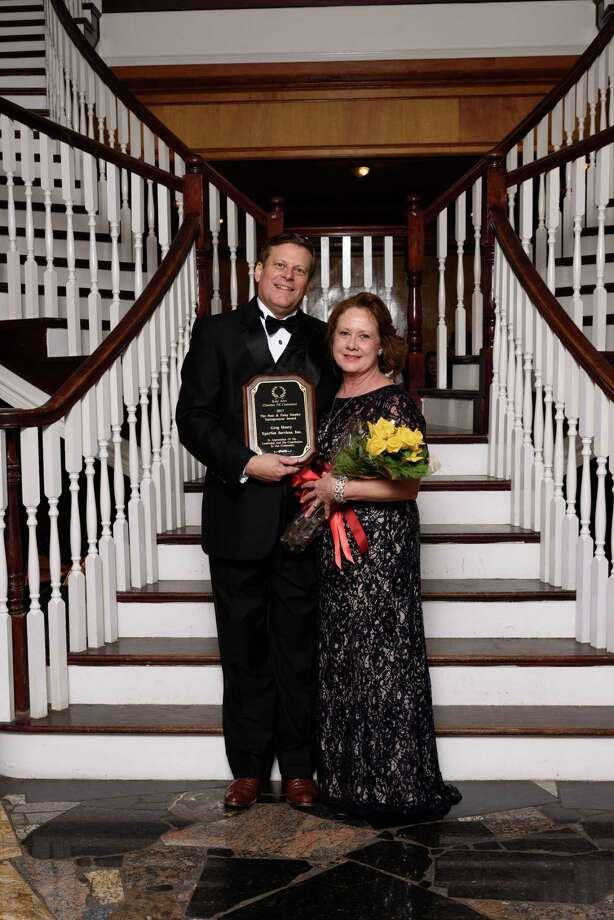 Greg Henry received the first Stan and Patsy Stanley Entrepreneur Award. With Henry is his wife, Tracy Henry. Photo: Katy Area Chamber Of Commerce / © Debi Beauregard 2017