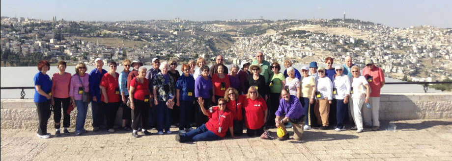 Tour group photo in Israel from the Jewish Community Israel Center. Photo: Evelyn Rubenstein JCC Of Houston