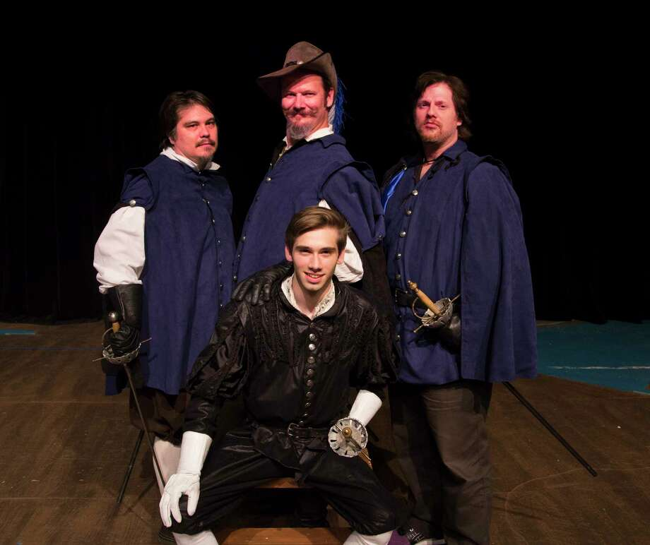 """The Players Theatre Company presents """"The Three Musketeers"""" March 17 through April 2 at the Owen Theatre. Pictured in back are Timothy Eggert, Jonathan Rozas and Brian Heaton as musketeers and center is 17-year-old Caleb Glass as d'Artagnan."""