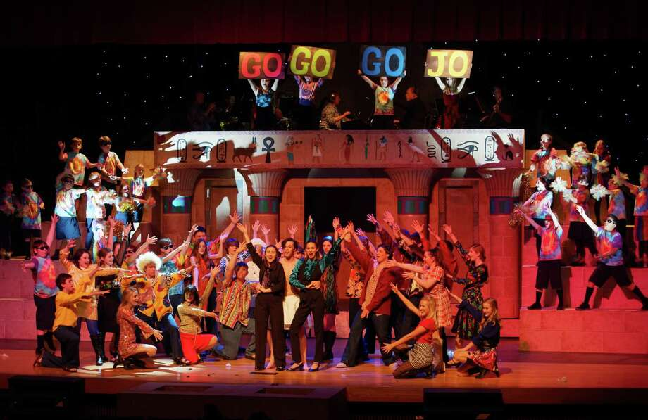 """The cast of """"Joseph and the Amazing Technicolor Dreamcoat"""" from Class Act Productions. Photo: Len Bates"""