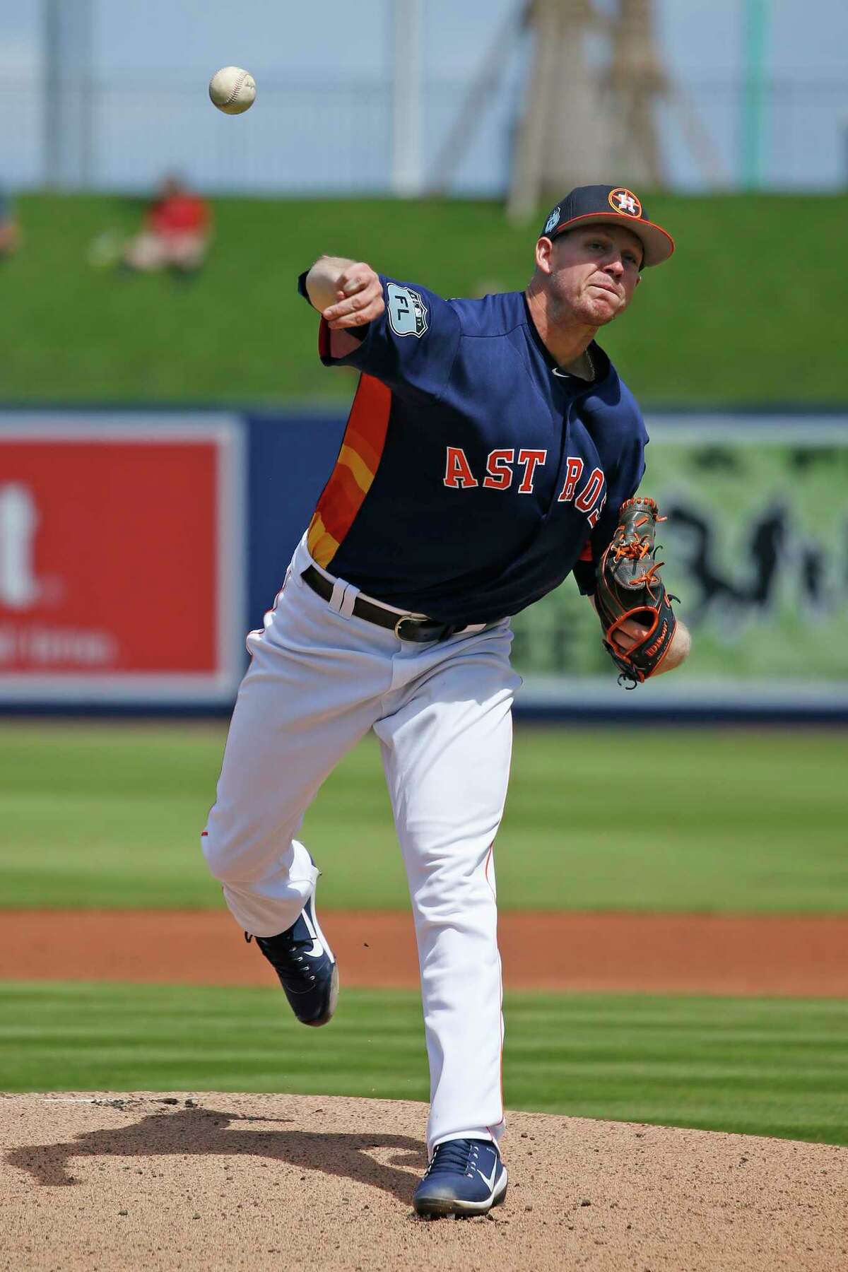 WEST PALM BEACH, FL - MARCH 6: Chris Devenski #47 of the Houston Astros throw the ball against the Boston Red Sox in the first inning during a spring training game at The Ballpark of the Palm Beaches on March 6, 2017 in West Palm Beach, Florida. The Astros and Red Sox played to a 5-5 tie.