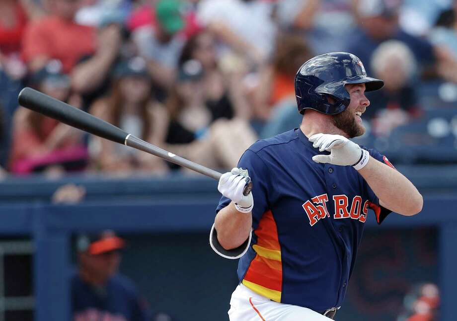 Houston Astros catcher Brian McCann (16) bats against the Boston Red Sox in a spring training baseball game Monday, March 6, 2017, in West Palm Beach, Fla. (AP Photo/John Bazemore) Photo: John Bazemore, Associated Press / Copyright 2017 The Associated Press. All rights reserved.