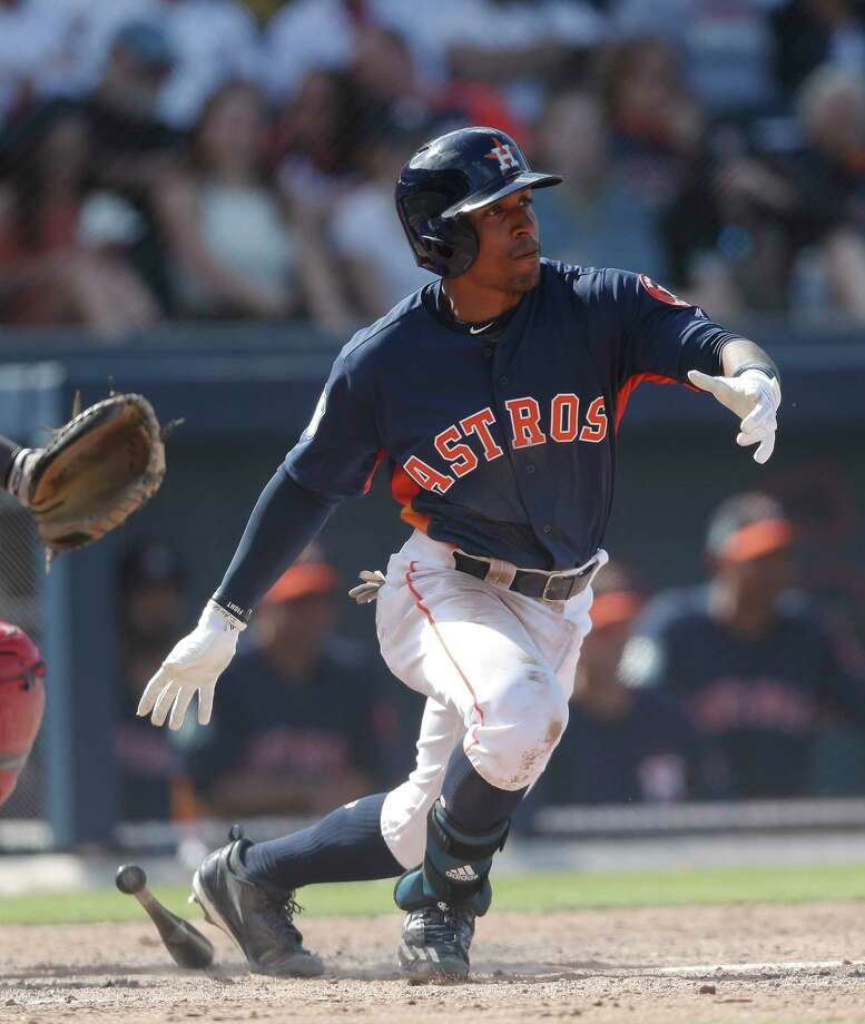 Houston Astros left fielder Tony Kemp (18) bats against the Boston Red Sox in a spring training baseball game Monday, March 6, 2017, in West Palm Beach, Fla. (AP Photo/John Bazemore) Photo: John Bazemore, Associated Press / Copyright 2017 The Associated Press. All rights reserved.