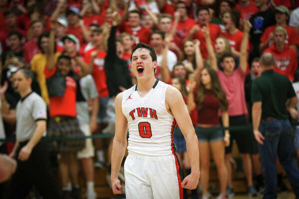 The Woodlandsí Matias Elejalde (0) reacts after the Highlanders won the varsity boys basketball game against College Park on Friday, Feb. 10, 2017, at The Woodlands High School.