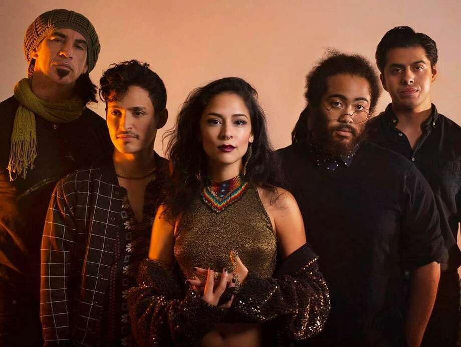 "Femina-X is celebrating the release of its debut album, ""Multiverse.""  The band includes (from left) Jai Roots, Jeff Palacios, Daniela Riojas, Darian Thomas and Alex Paul Scheel. Riojas and Scheel lead the electro-rock act. Photo: Courtesy / Courtesy"