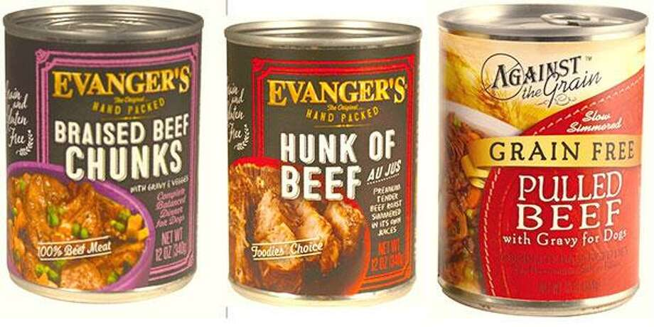 Evanger's Dog & Cat Food is expanding its recall of Hunk of Beef and is also recalling Evanger's Braised Beef and Against the Grain's Pulled Beef Products due to potential adulteration with pentobarbital. Photos courtesy of the U.S. Food and Drug Administration. Photo: Contributed / Contributed