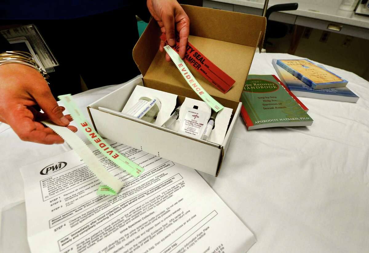 FILE - A rape kit is laid out in the room allocated for sexual abuse cases at the Albany Medical Center. (Skip Dickstein / Times Union)