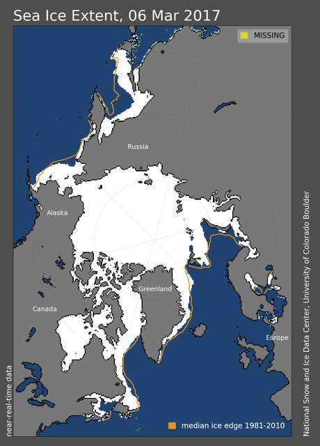Arctic sea ice extent on March 6. Photo: National Snow And Ice Data Center