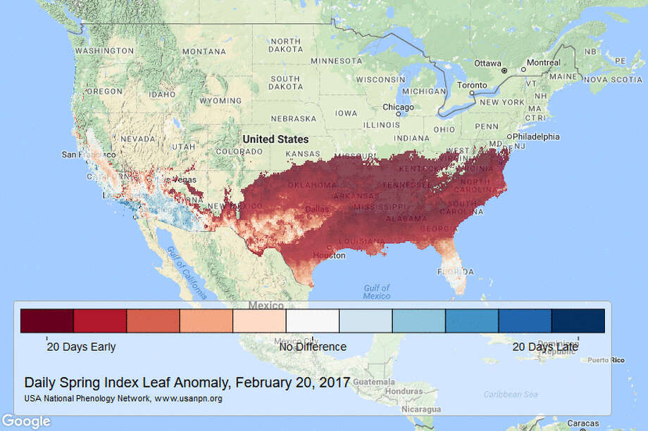 USGS: A new set of scientifically backed maps produced by the USGS-led USA-National Phenology Network shows just how unusually early spring is arriving in the United States. Photo: USGS