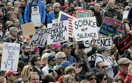 Members of the scientific community, environmental advocates, and supporters demonstrate Sunday, Feb. 19, 2017, in Boston, to call attention to what they say are the increasing threats to science and scientific research under the administration of President Donald Trump.  Photo: Steven Senne/AP
