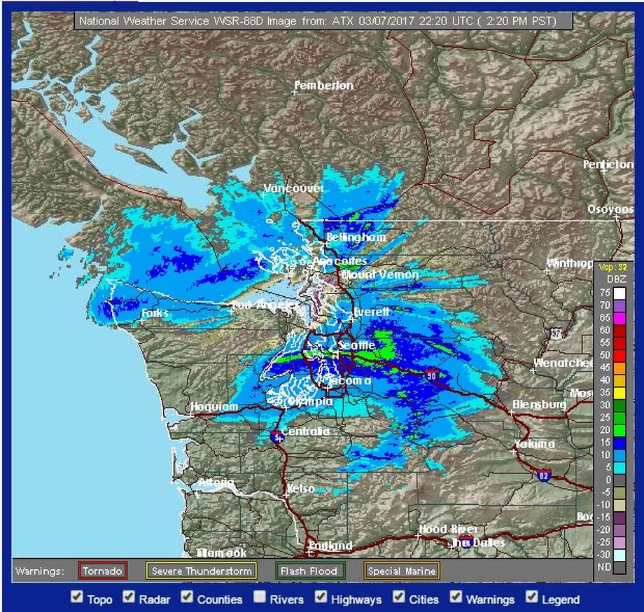 With a convergence zone expected to develop in Snohomish and Skagit counties, and cold air moving across the region, Seattle and points north could see some snow Tuesday night. Photo: National Weather Service
