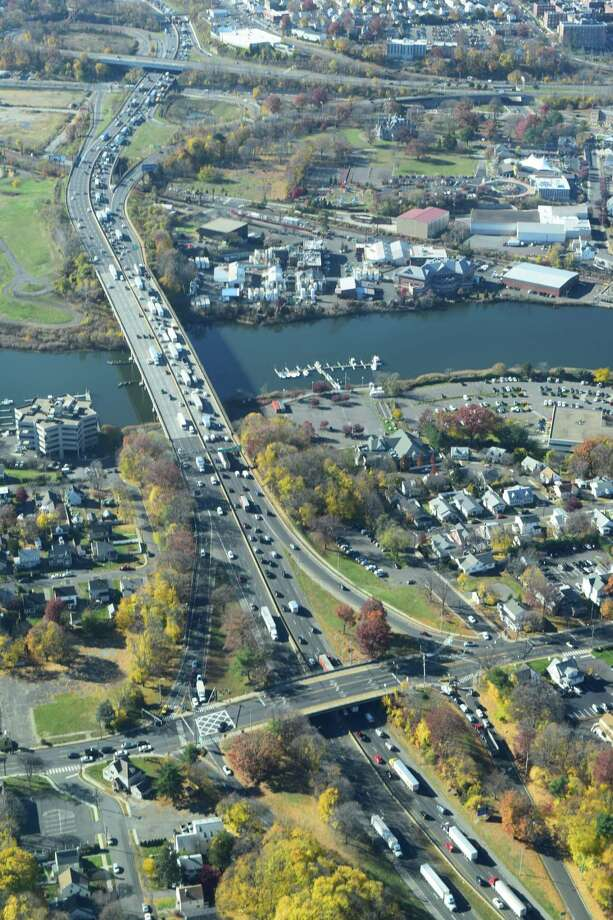 The National Trust for Historic Preservation has weighed before the U.S. Department of Transportation on the conceptual high-speed route through Connecticut and Rhode Island. Here, an aerial view of Interstate 95 in Norwalk facing west. Photo: Contributed Photo
