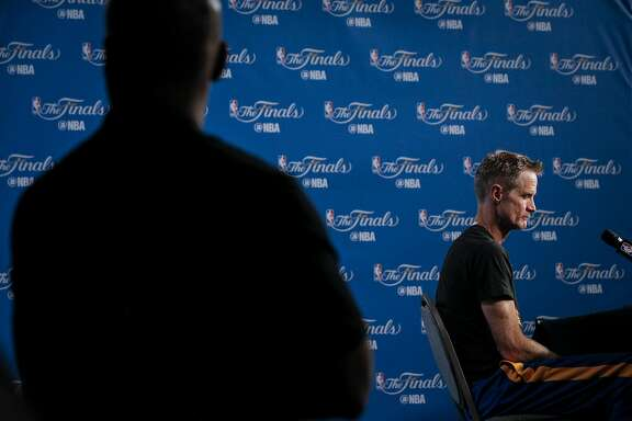 Warriors head coach Steve Kerr talks with the press before practice before Game 6 of the NBA Finals at The Quicken Loans Arena on Wednesday, June 15, 2016 in Cleveland, Ohio.during Game 6 of the NBA Finals at The Quicken Loans Arena on Wednesday, June 15, 2016 in Cleveland, Ohio.