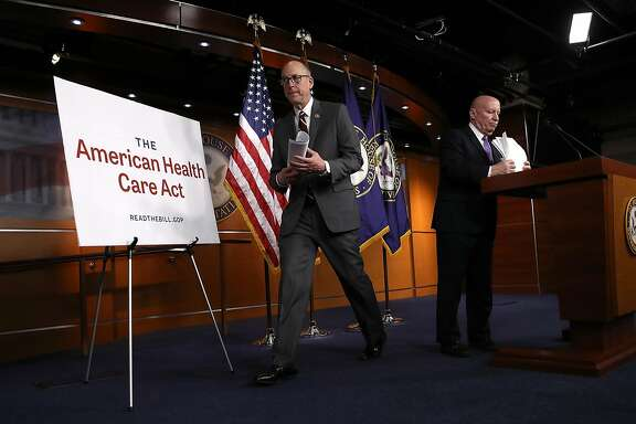 WASHINGTON, DC - MARCH 07:  House Ways and Means Chairman Kevin Brady (R-TX) (R) and House Energy and Commerce Chairman Greg Walden (R-OR) (L) conclude a news conference on the newly announced American Health Care Act at the U.S. Capitol March 7, 2017 in Washington, DC. House Republicans yesterday released details on their plan to replace the Affordable Care Act, or Obamacare, with a more conservative agenda that includes individual tax credits and grants for states replacing federal insurance subsidies.  (Photo by Win McNamee/Getty Images)