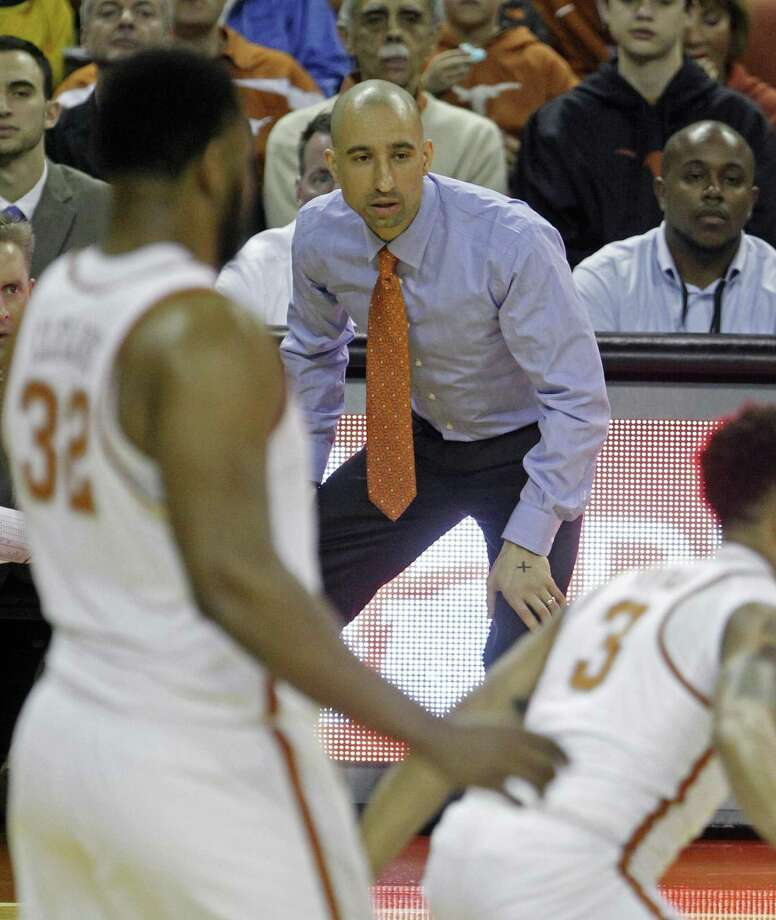 Texas coach Shaka Smart watches his team during the first half against Baylor, on March 4, 2017, in Austin. Photo: Michael Thomas /Associated Press / FR65778 AP