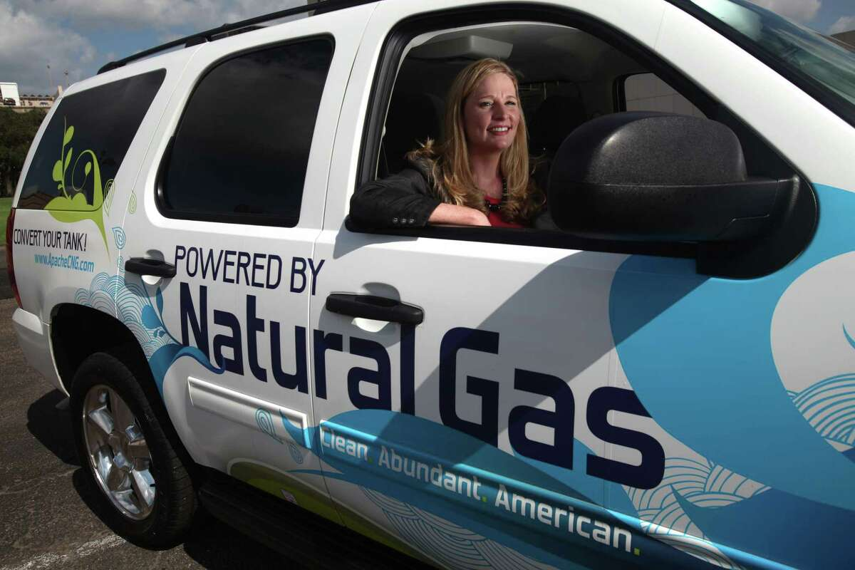 Castlen Moore Kennedy, then manager of government affairs at Apache and a grad student at UT-Austin, sits in the car she retrofitted to use natural gas on Wednesday, Oct. 27, 2010, in Houston. According to a recent Census Bureau report, the percentage of women in information technology jobs stands at about 25 percent. Meanwhile, the WEF estimates that women comprise fewer than 20 percent of energy's global workforce, a number that drops to between 10 and 15 percent in senior levels of management. ( Mayra Beltran / Houston Chronicle )