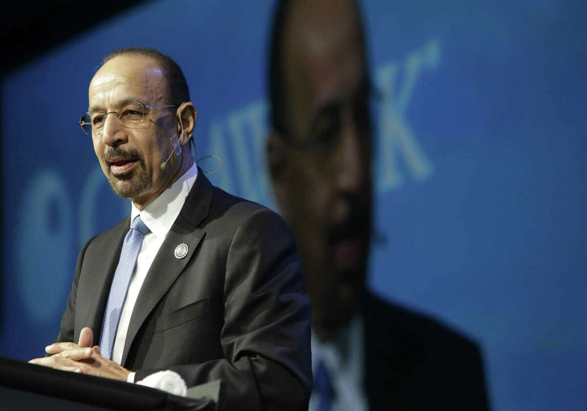Khalid A. Al-Falih, Minister of Energy, Industry and Mineral Resources of Saudi Arabia and chairman of Saudi Aramco, speaks during CERAWeek, Tuesday, March 7, 2017, in Houston. CONTINUE to see Texas' biggest oilfield finds.