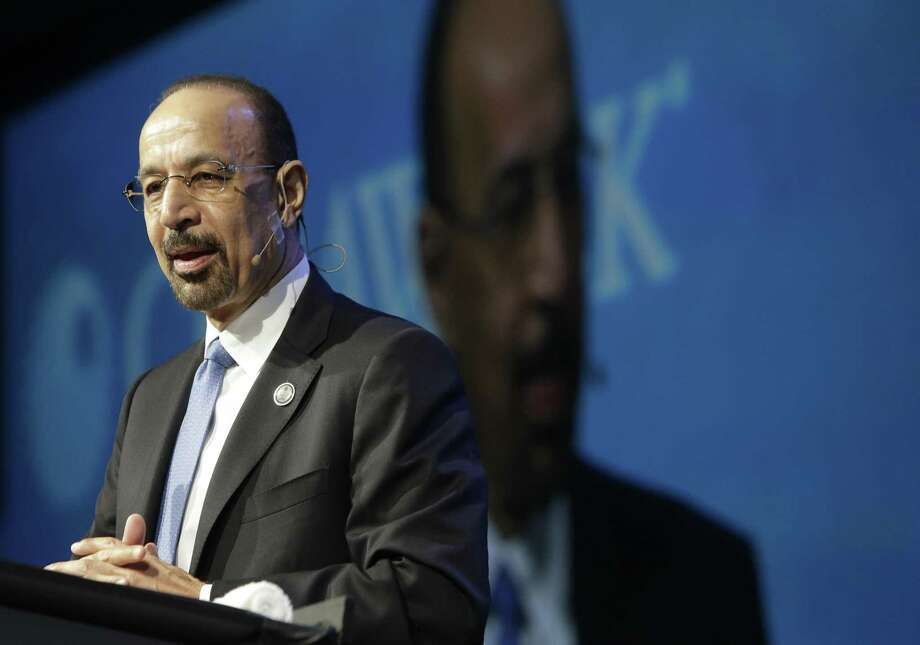 """Khalid A. Al-Falih, Minister of Energy, Industry and Mineral Resources of Saudi Arabia and chairman of Saudi Aramco, speaks during CERAWeek, Tuesday, March 7, 2017, in Houston. Al-Falih said he welcomes investment in U.S. shale, """"regardless of what you might hear elsewhere,"""" and sees its growth as a sign that the global industry is rebounding. (Melissa Phillip/Houston Chronicle via AP) Photo: Melissa Phillip /Associated Press / ' 2017 Houston Chronicle"""