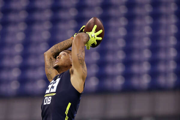 Lamar defensive back Brendan Langley runs a drill at the NFL football scouting combine Monday, March 6, 2017, in Indianapolis. (AP Photo/David J. Phillip)