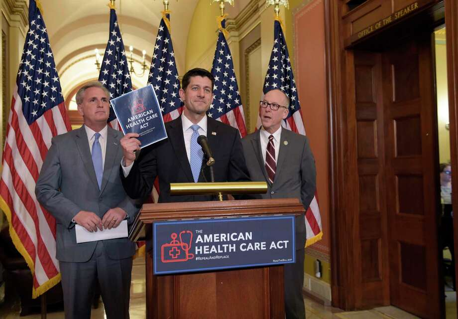 House Speaker Paul Ryan of Wisconsin, center, speaks during a news conference on the American Health Care Act on Tuesday. Photo: Susan Walsh, STF / Copyright 2017 The Associated Press. All rights reserved.