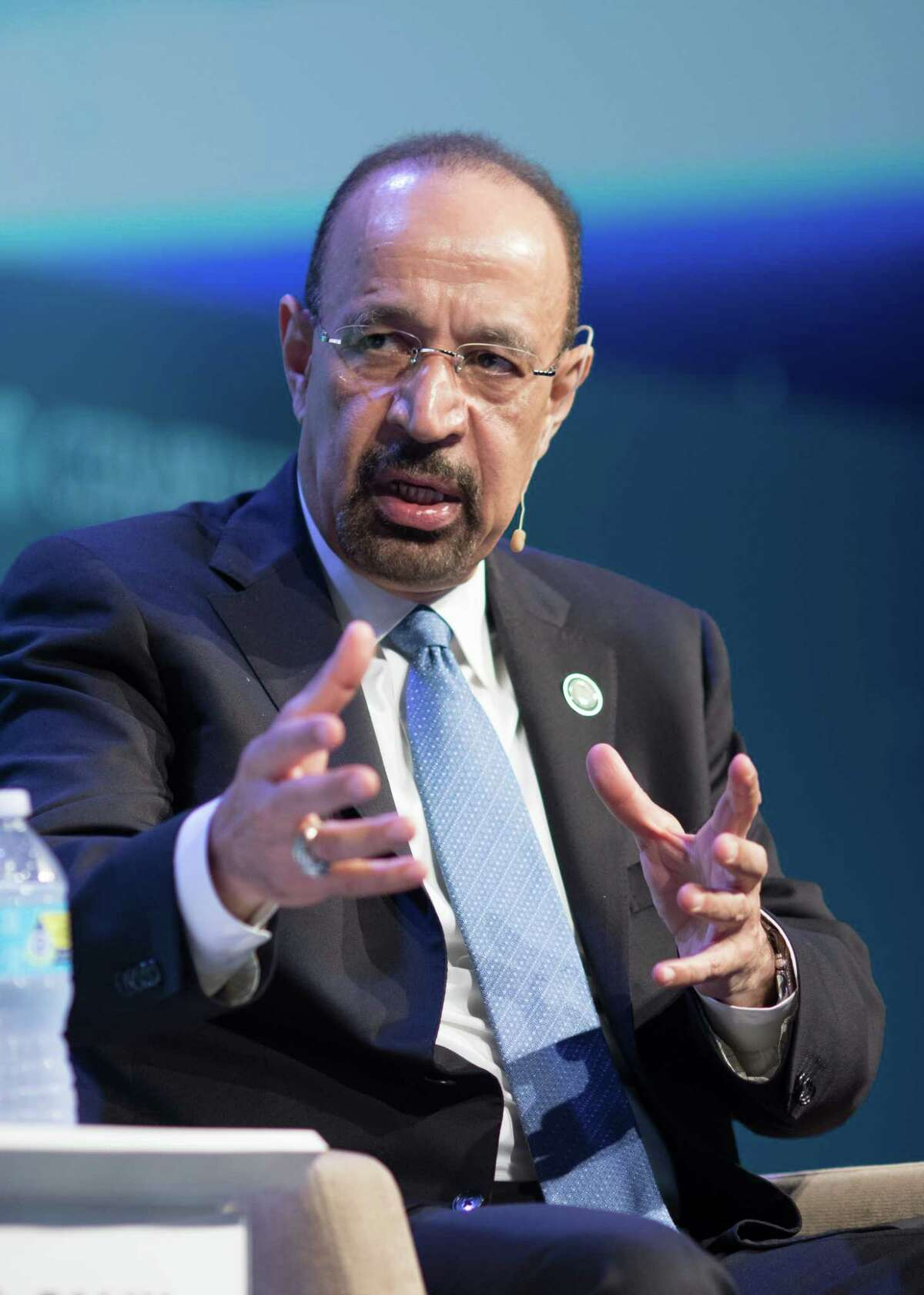 Khalid Bin Abdulaziz Al-Falih, Saudi Arabia's energy and industry minister, speaks during the 2017 IHS CERAWeek conference in Houston, Texas, U.S., on Monday, March 7, 2017. CERAWeek gathers energy industry leaders, experts, government officials and policymakers, leaders from the technology, financial, and industrial communities to provide new insights and critically-important dialogue on energy markets. Photographer: F. Carter Smith/Bloomberg