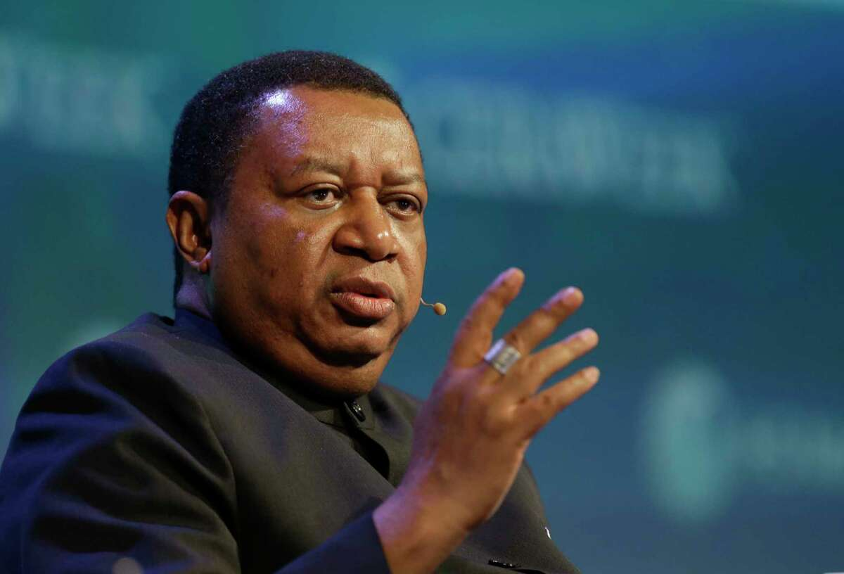 Mohammad Sanusi Barkindo, secretary general of OPEC, is shown during panel discussion at CERAWeek by IHS Markit at Hilton Americas,1600 Lamar St., Tuesday, March 7, 2017, in Houston. ( Melissa Phillip/Houston Chronicle via AP)