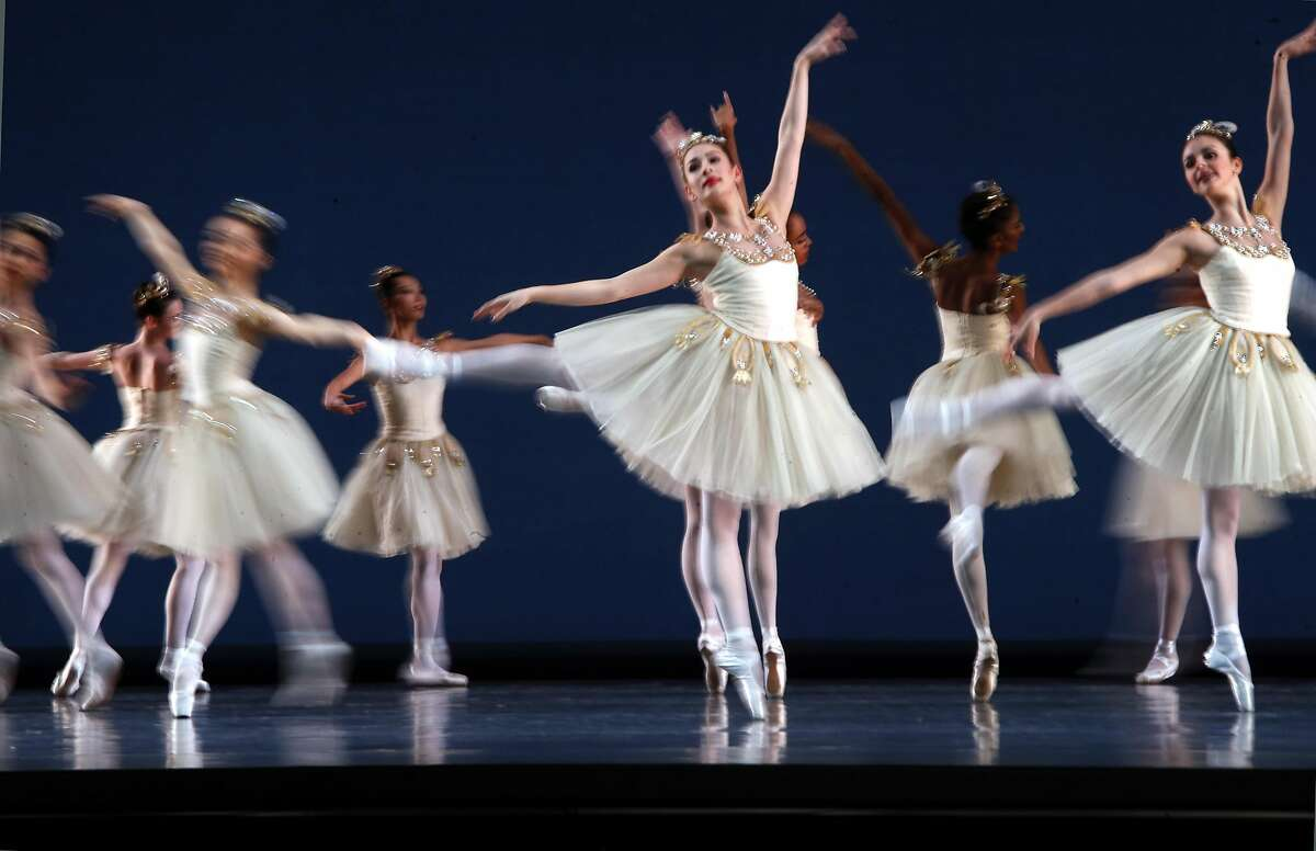 Dancers perform in Diamonds, San Francisco Ballet's program for All Balanchine Program, during dress rehearsals on Tues. March 7, 2017, in San Francisco, Ca., at the War Memorial Opera House.