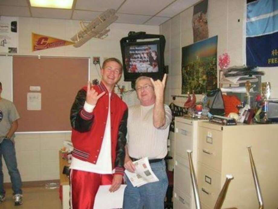 Photo courtesy of Martin Bergman Beaverton High School graduate Martin Bergman shares a photo of himself, left, with teacher Joe Devlin.