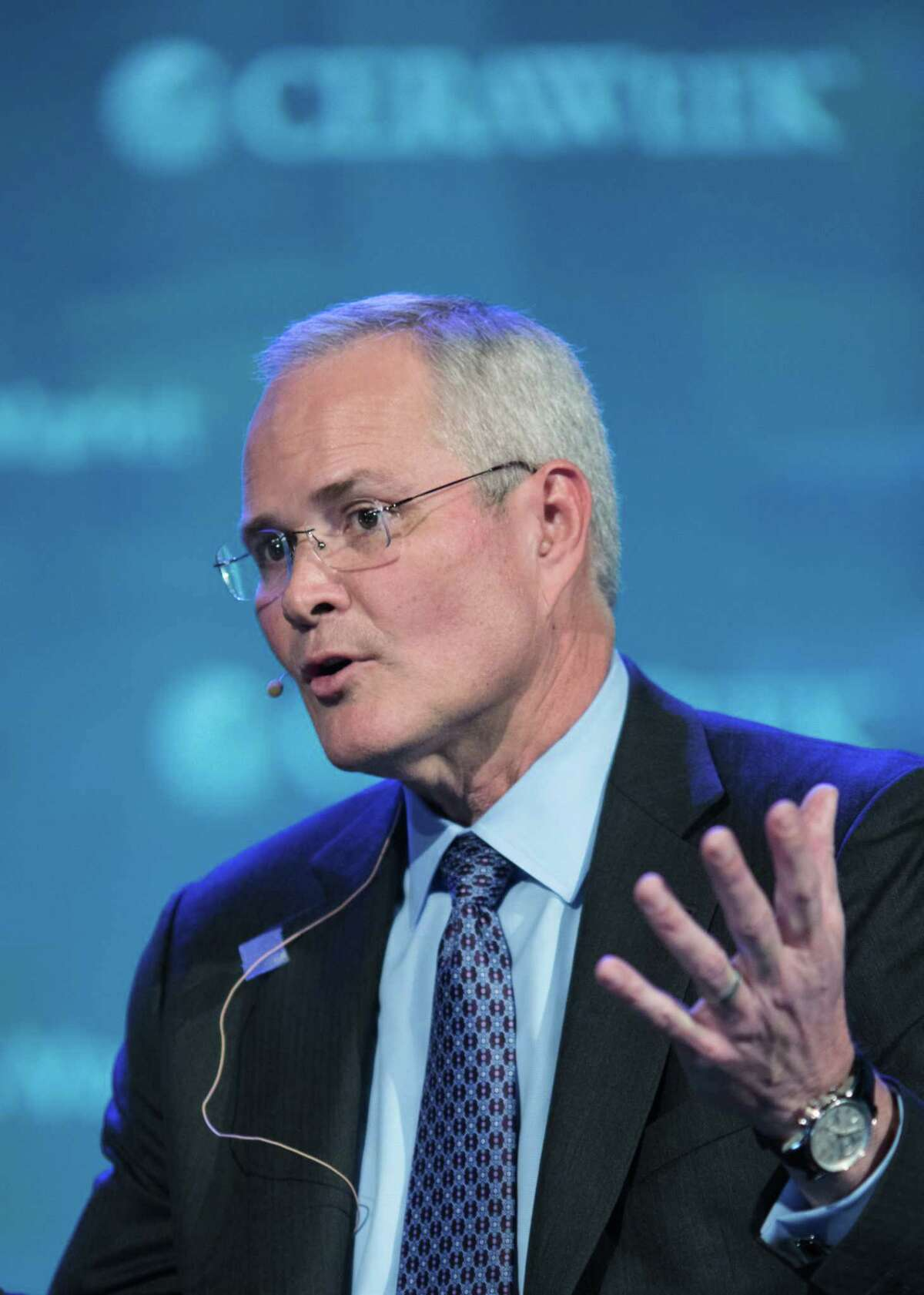 Darren Woods, chairman and chief executive officer of Exxon Mobil Corp., speaks during the 2017 IHS CERAWeek conference in Houston, U.S., on Monday, March 6, 2017. CERAWeek gathers energy industry leaders, experts, government officials and policymakers, leaders from the technology, financial, and industrial communities to provide new insights and critically-important dialogue on energy markets. Photographer: F. Carter Smith/Bloomberg