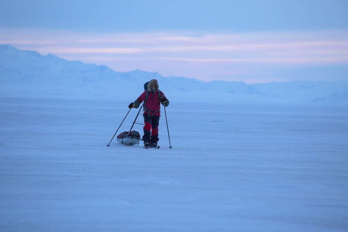 Ario Z'Hoo skiing in Alaska.