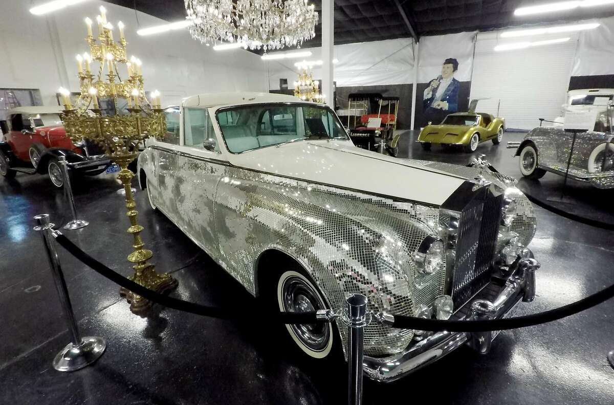 A 1961 Phantom V Rolls Royce once owned by Liberace is covered in tiny mirrors. It and other cars owned by the performer are on display at Liberace's Garage in Las Vegas.