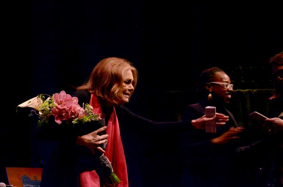 Gloria Steinem spoke to BART director Lateefah Simon on March 5, 2017 at Brava Theatre in San Francisco's Mission District.  Photo: Michelle Robertson/SFGATE