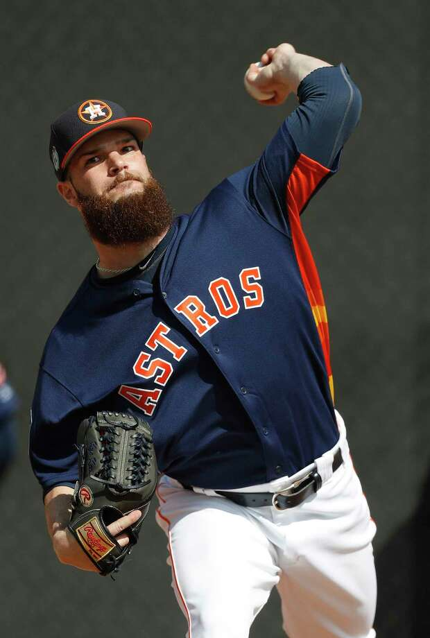 Dallas Keuchel needed 13 pitches to get through a clean first inning in his Spring Training debut on Sunday. Photo: Karen Warren, Staff Photographer / 2017 Houston Chronicle