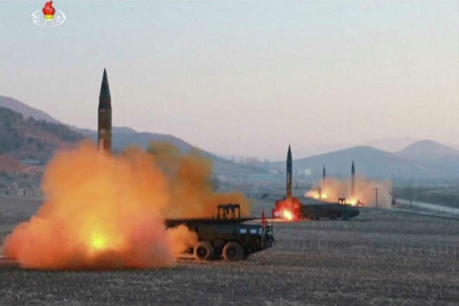 In this image made from video released by KRT on Tuesday, March 7, 2017, North Korea launches four missiles in an undisclosed location North Korea. On Monday, North Korea fired four ballistic missiles in an apparent protest against ongoing U.S.-South Korean military drills that it views as an invasion rehearsal. (KRT via AP Video) Photo: TEL / KRT