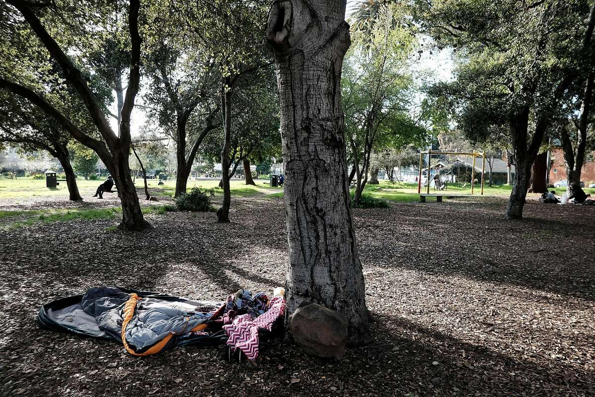 An empty sleeping bag sits under a tree at People's Park in Berkeley, CA, on Tuesday March 7, 2017.