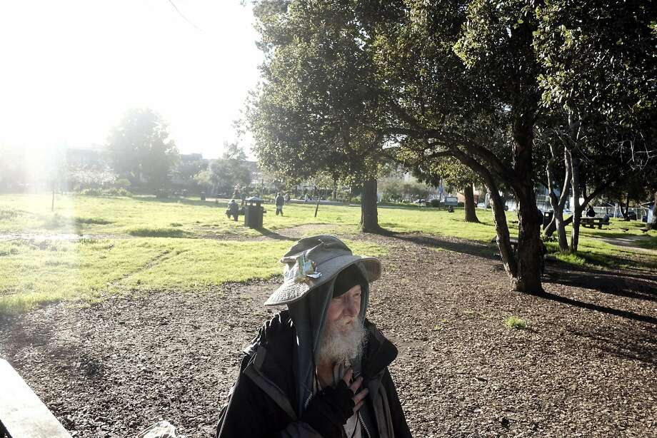 "Mark ""Hate Man"" Hawthorne in People's Park in Berkeley on March 7, 2017. Photo: Michael Short, Special To The Chronicle"