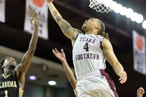 Kevin Scott (4) of the TSU Tigers goes for a layup against the Alabama State Hornets in a college basketball game on Tuesday, March 7, 2017 at H&PE Arena on the TSU Campus.