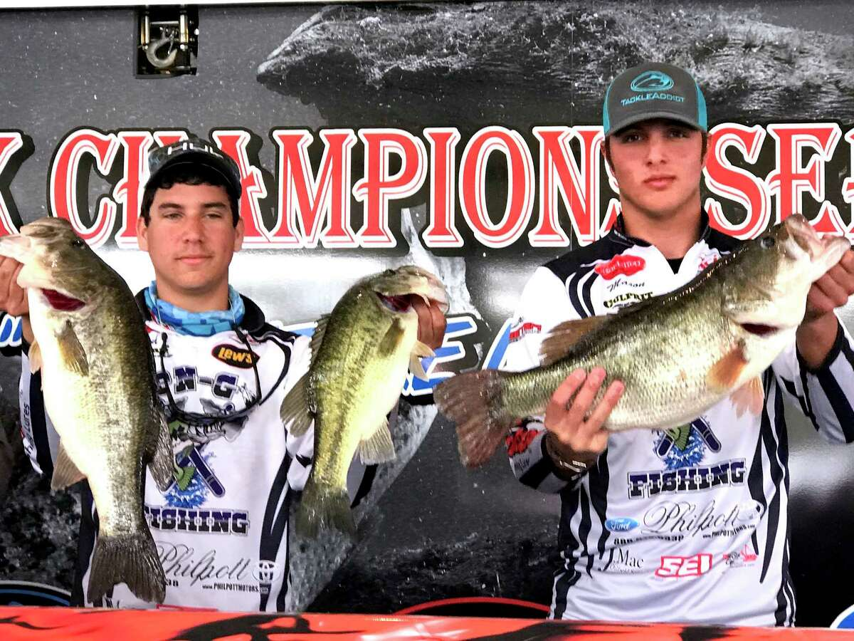 Port Neches-Groves High School fishing anglers Reed Hudspeth, left, and Mason Arnaud took first place in Sunday's Souteast Texas High School Fishing Association team tournament at Sam Rayburn's Uphrey Pavillion. The duo weighed five fish for a total of 22.78 pounds. (Photo provided by NDN Fishing)
