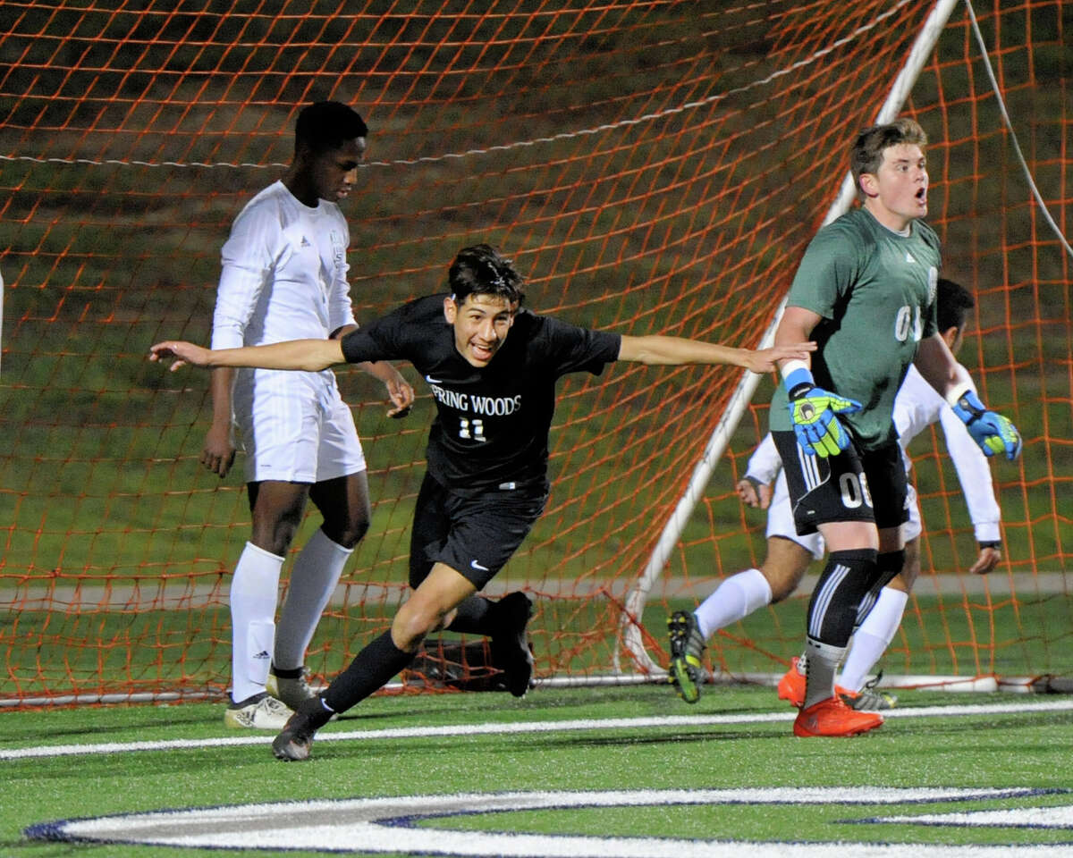 BOYS SOCCER March 7: Spring Woods 2, Stratford 2 Jose Gonzalez (11) of Spring Woods celebrates his goal that tied the game 2-2 during the second half of a boys high school soccer game between the Stratford Spartans and the Spring Woods Tigers on Tuesday, March 7, 2017 at Tulley Stadium, Houston, TX.