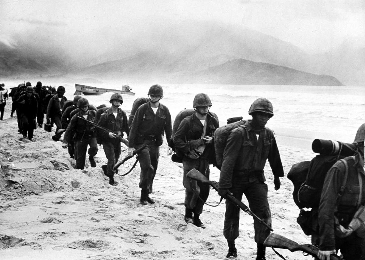 US combat troops enter Vietnam for first time in 1965 Jan. 1, 1965:  US Marines landing in Da Nang.