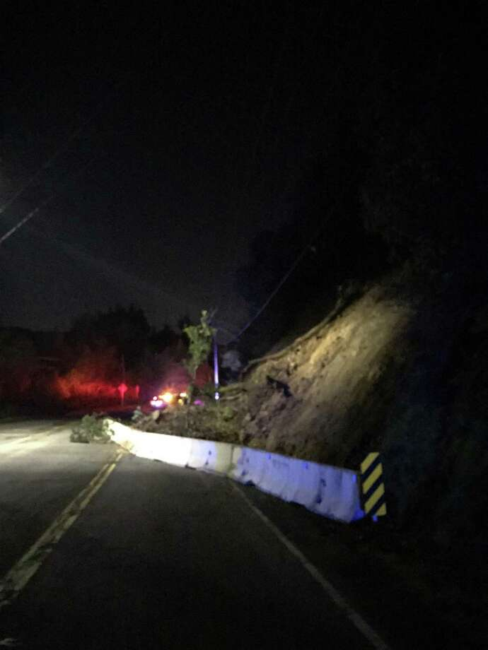 Sir Francis Drake Boulevard between Fairfax and Woodacre was closed Wednesday due to a landslide, officials said. Photo: Marin County Sheriff's Office / /