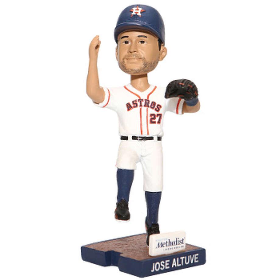 "HOUSTON ASTROS PROMOTIONAL SCHEDULEJose Altuve ""Handshake Series"" Bobblehead(First 10,000 fans)Presented by Houston MethodistSaturday, April 8vs. Royals Photo: Houston Astros"